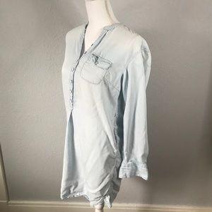 MERONA Light Wash Long Sleeve Chambray Denim Dress